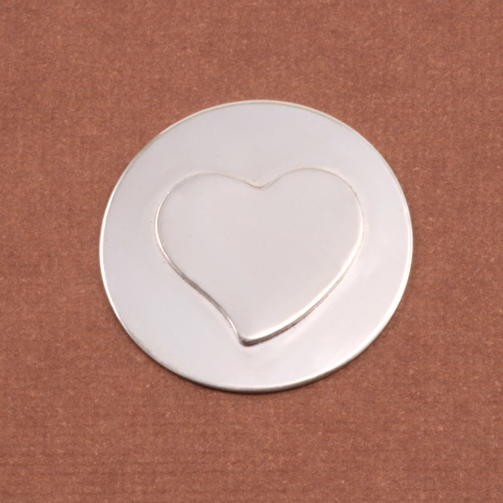 Metal Stamping Blanks Soldered S/S Stylized Heart on S/S Circle 7/8""