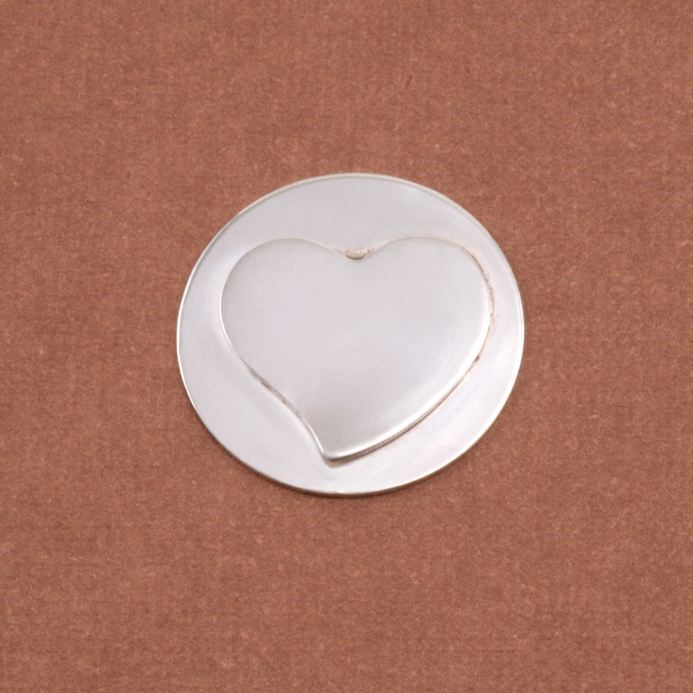 Metal Stamping Blanks Soldered S/S Stylized Heart on S/S Circle 3/4""