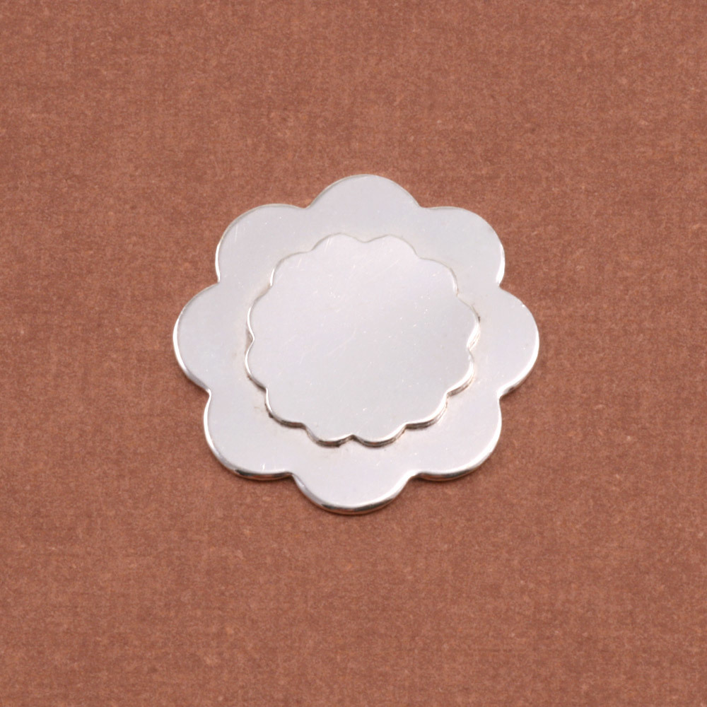 Metal Stamping Blanks Soldered S/S 12 Petal Flower on S/S 8 Petal Flower