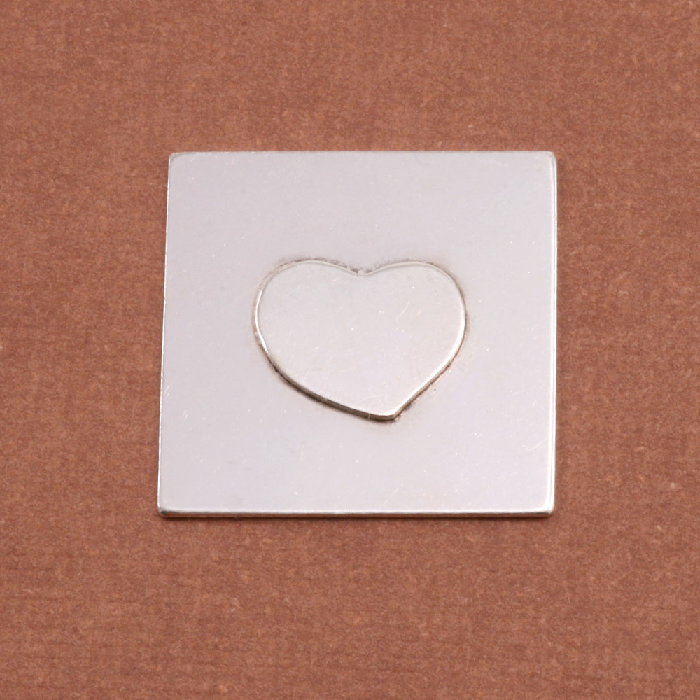 Metal Stamping Blanks Soldered S/S Heart on S/S Square 3/4""