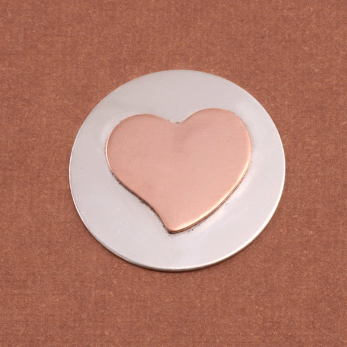 Metal Stamping Blanks Soldered Copper Stylized Heart on S/S Circle 7/8""