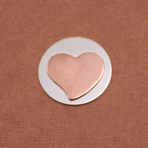 Metal Stamping Blanks Soldered Copper Stylized Heart on S/S Circle 3/4""