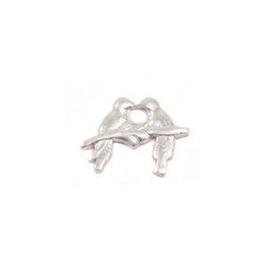 "Charms & Solderable Accents Sterling Silver Love Birds Solderable Accent, 8.8mm (.34"") x 11mm (.43""), 24g - Pack of 5"