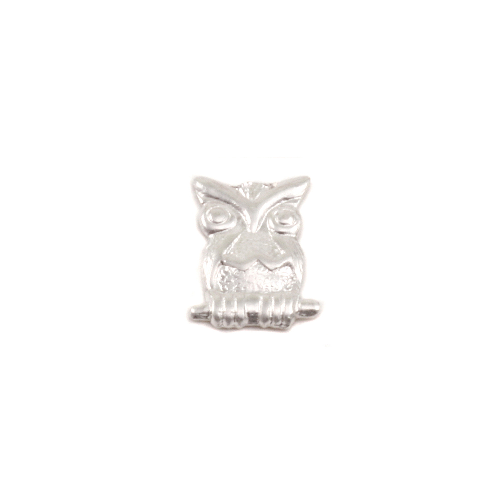 "Charms & Solderable Accents Sterling Silver Owl Solderable Accent, 9mm (.35"") x 7mm (.27""), 24g - Pack of 5"