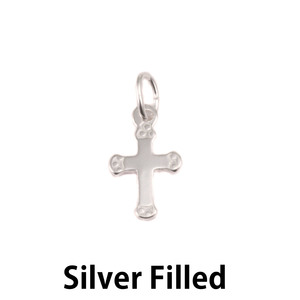 Charms & Solderable Accents Silver Filled Small Rounded Cross Charm