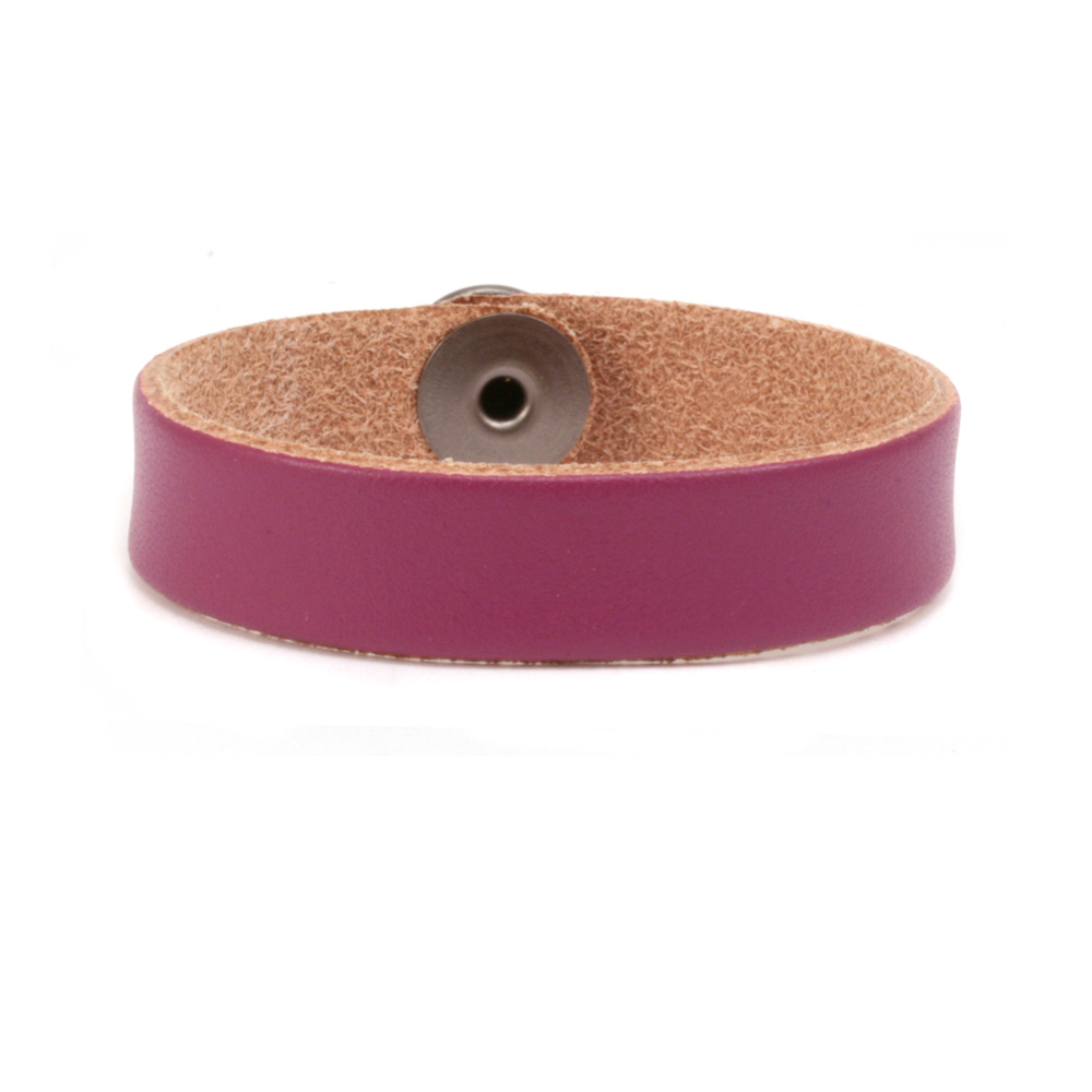 "Leather Leather Bracelet 1/2"" Medium, Purple"