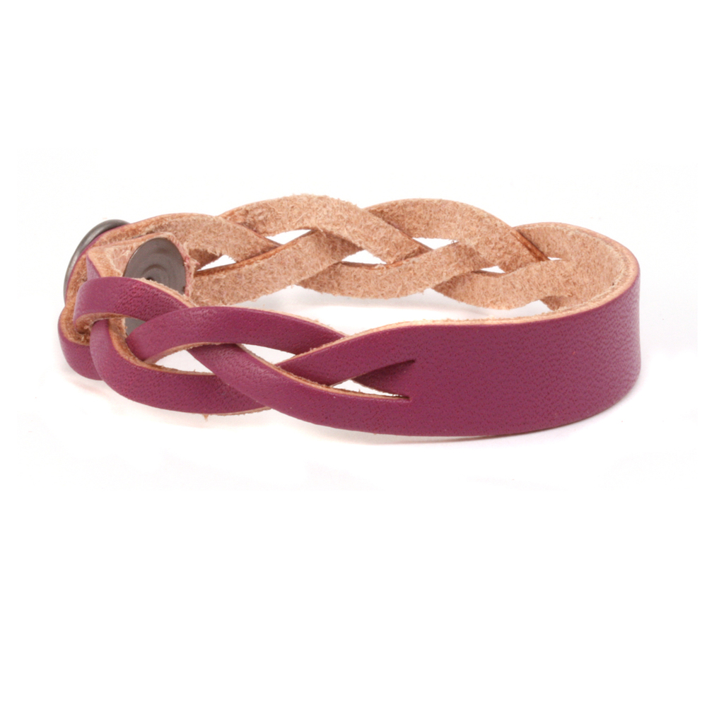 "Leather & Faux Leather Leather Braided Bracelet 1/2"" Small, Purple"