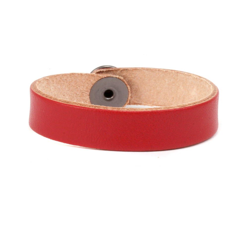 "Leather & Faux Leather Leather Bracelet 1/2"" Small, Red"