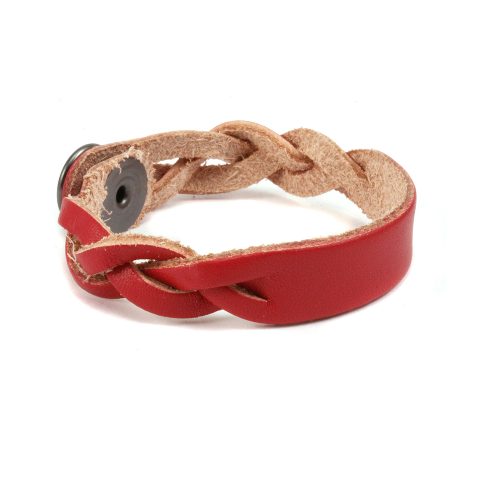 "Leather & Faux Leather Leather Braided Bracelet 1/2"" Red 6 3/4"" Long"