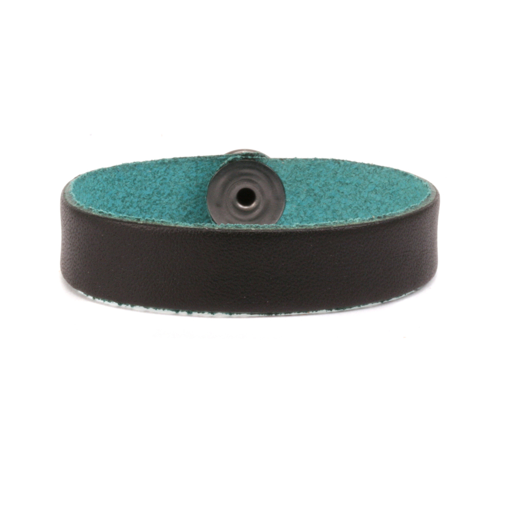 "Leather Leather Bracelet 1/2"" Small, Black/Turquoise"