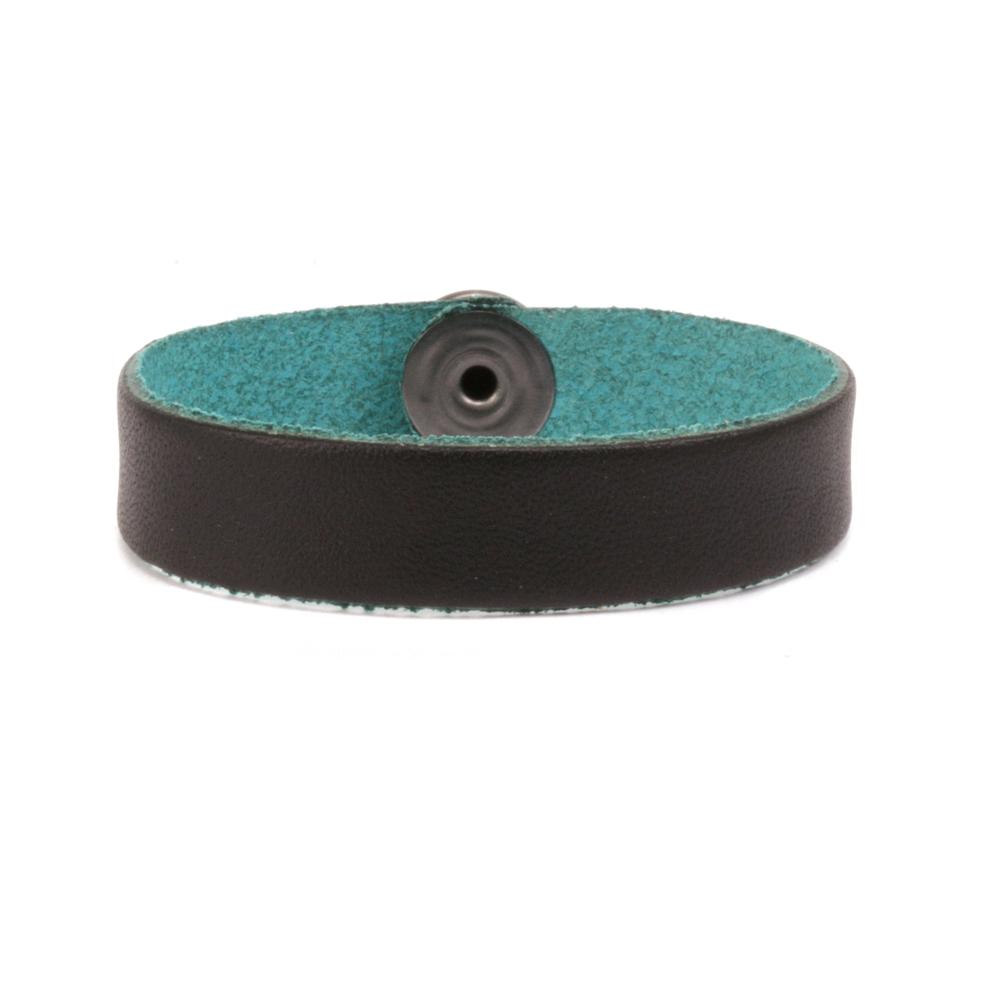 """Leather Leather Bracelet 1/2"""" Large, Black/Turquoise"""