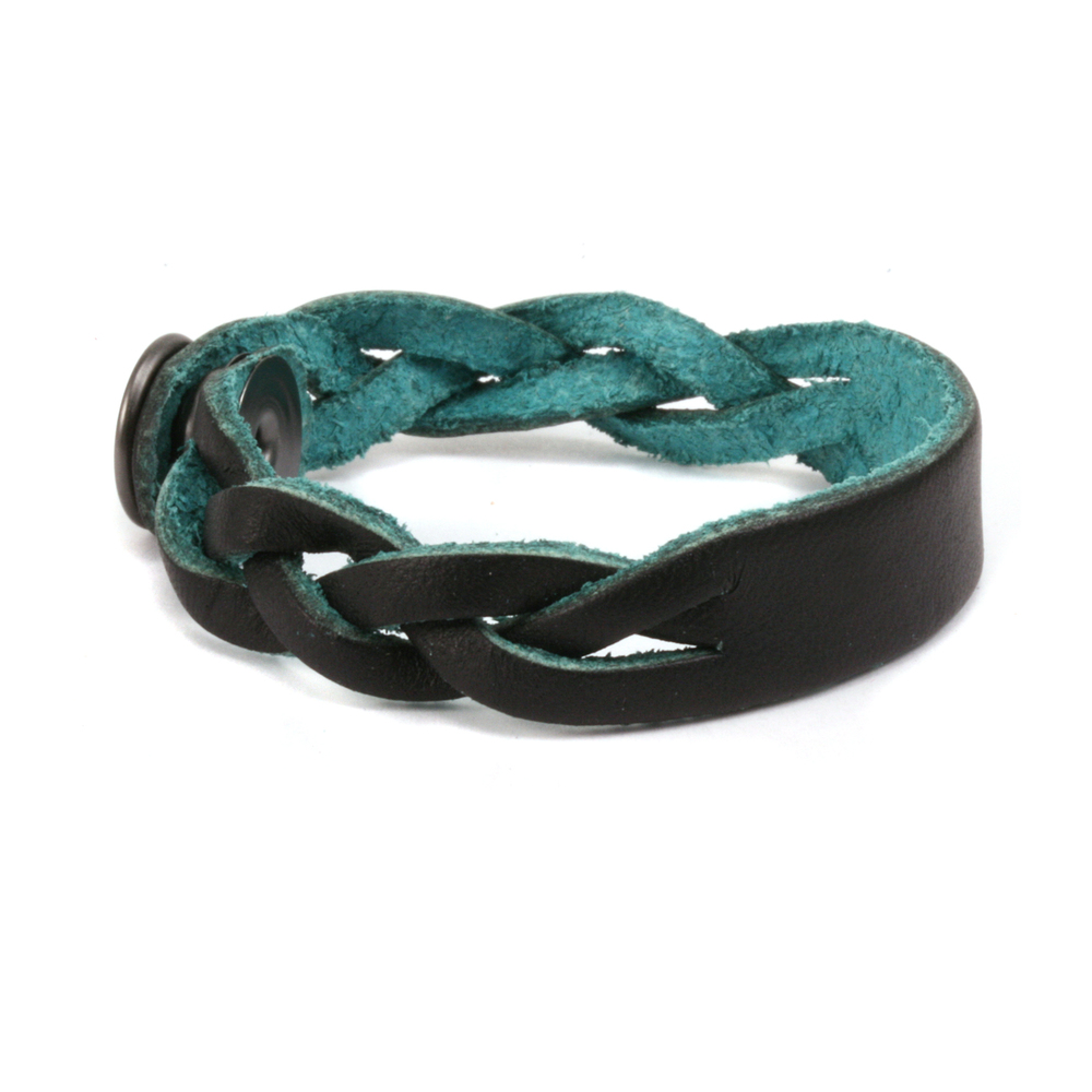 """Leather Leather Braided Bracelet 1/2"""" Small, Black/Turquoise"""