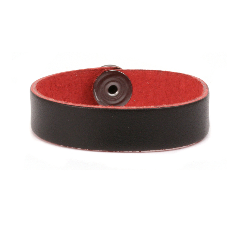 "Leather Leather Bracelet 1/2"" Medium, Black/Red"
