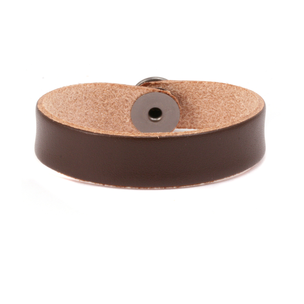 """Leather & Faux Leather Leather Bracelet 1/2"""" Brown 6.5"""""""