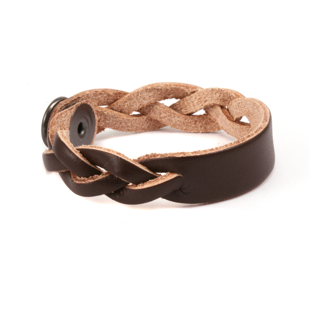 """Leather & Faux Leather Leather Braided Bracelet 1/2"""" Large, Brown"""