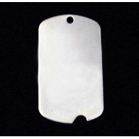 "Metal Stamping Blanks Sterling Silver Large Notched Dog Tag, 35mm (1.38"") x 18mm (.71""), 20g"