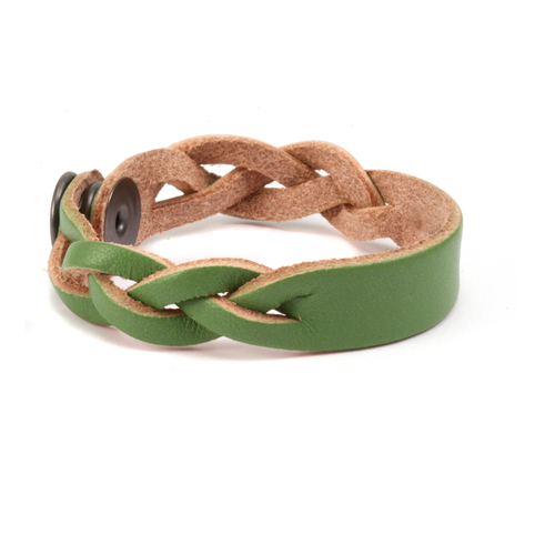 "Leather Leather Braided Bracelet 1/2"" Olive 6 3/4"" Long"