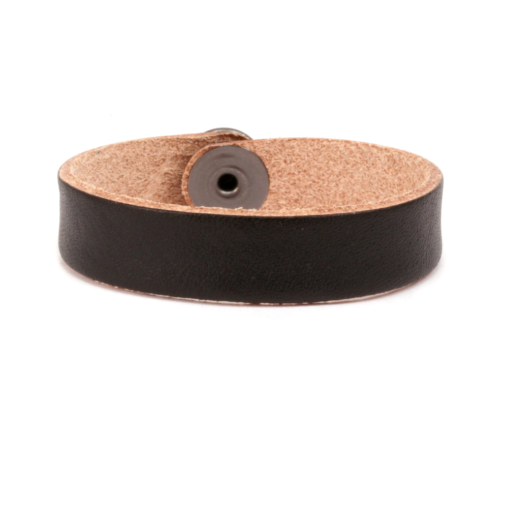 "Leather & Faux Leather Leather Bracelet 1/2"" Black 7.25"""