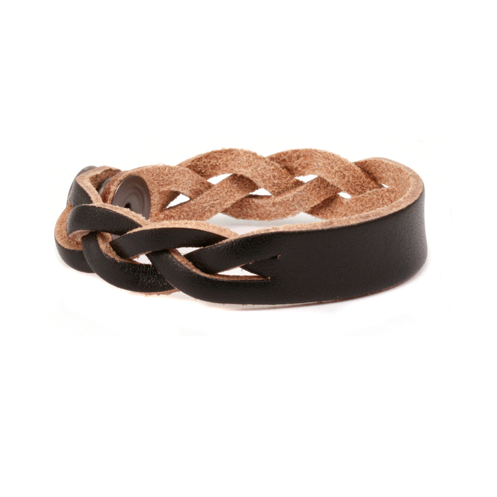 "Leather & Faux Leather Leather Braided Bracelet 1/2"" Black 7"" Long"