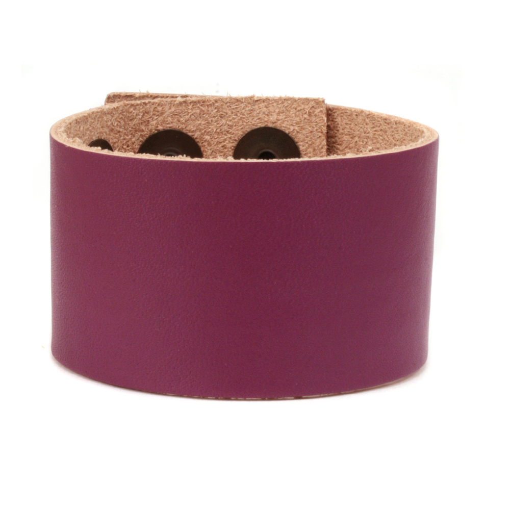 "Leather Leather Adjustable Bracelet 1 1/2"" Purple"