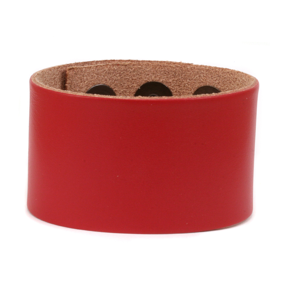 "Leather & Faux Leather Leather Adjustable Bracelet 1 1/2"" Red"