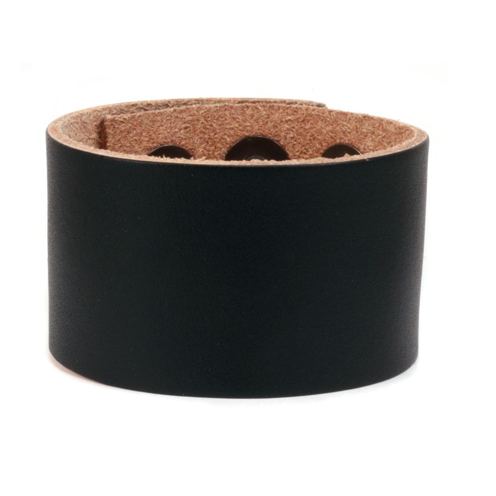 "Leather Leather Adjustable Bracelet 1 1/2"" Black"
