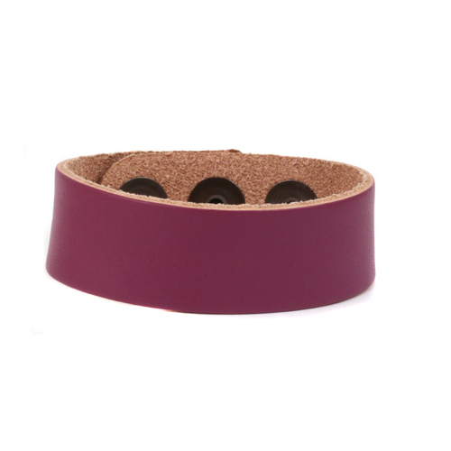 "Leather Leather Adjustable Bracelet 7/8"" Purple"