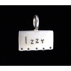 Metal Stamping Blanks Sterling Silver Rectangle Pendant with Large Top Loop