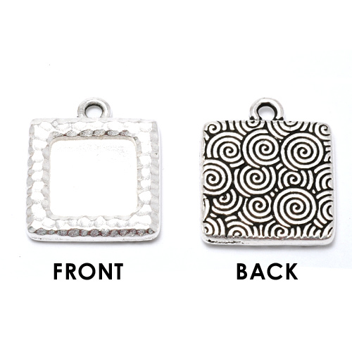 Enamel & Mixed Media Plated Silver Square Bezel (Hammered Front/Spiral Back)