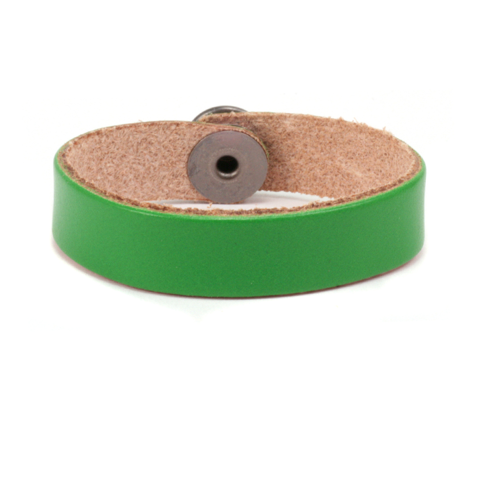 "Leather & Faux Leather Leather Bracelet 1/2"" Kelly Green 7.5"""