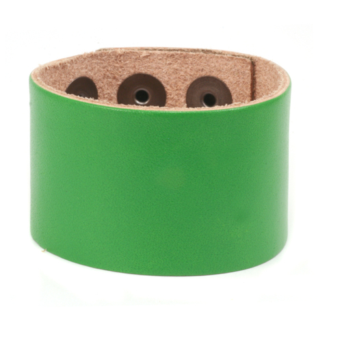 "Leather Leather Adjustable Bracelet 1 1/2"" Green"