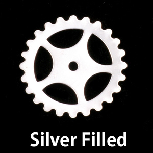 Metal Stamping Blanks Silver Filled Large Spoked Cog, 24g