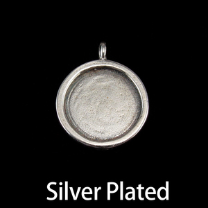 Metal Stamping Blanks Silver Plated Circle with Smooth Raised Edge