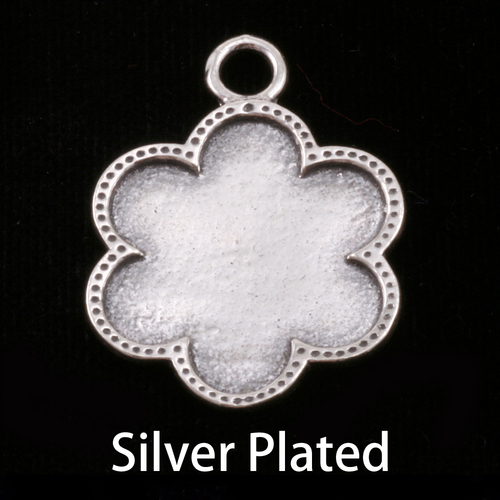 Metal Stamping Blanks Silver Plated Flower with Dotted Edge