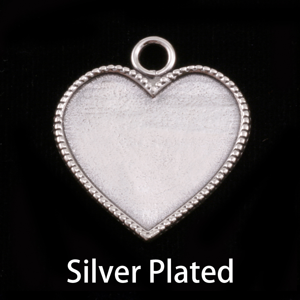 Metal Stamping Blanks Silver Plated Heart with Beaded Edge