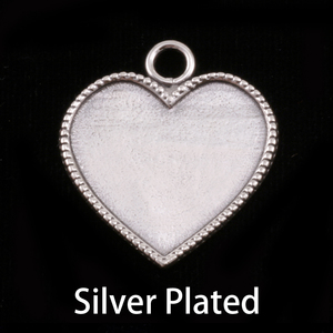 "Metal Stamping Blanks Silver Plated Heart with Beaded Edge, 26mm (1.02"") x 22.5mm (.88""), 22g"