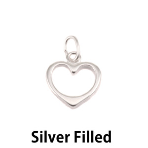 Charms & Solderable Accents Silver Filled Open Heart Charm