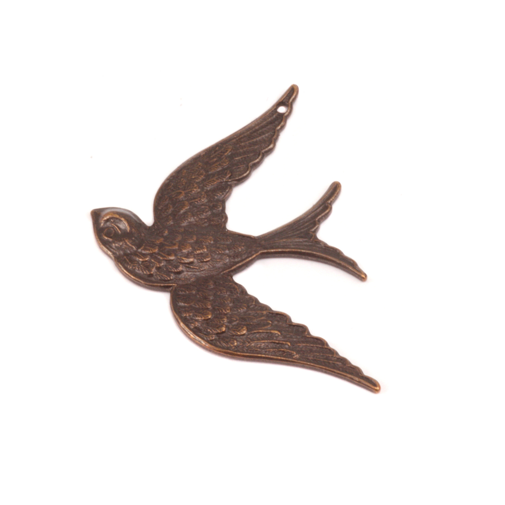 Charms & Solderable Accents Antique Brass Fancy Bird Pendant