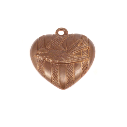 Charms & Solderable Accents Antique Brass Love Bird Heart Pendant