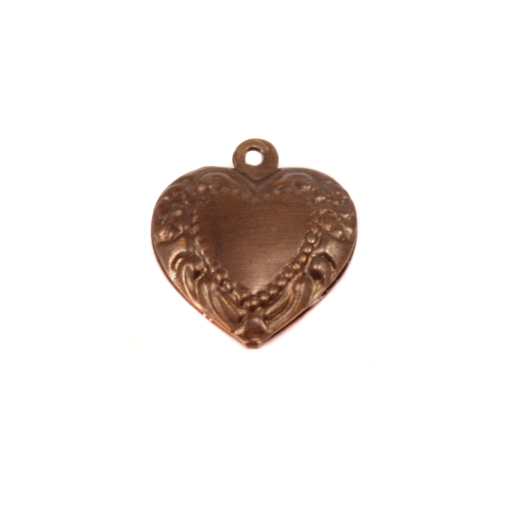 Charms & Solderable Accents Antique Brass Pillow Heart Pendant