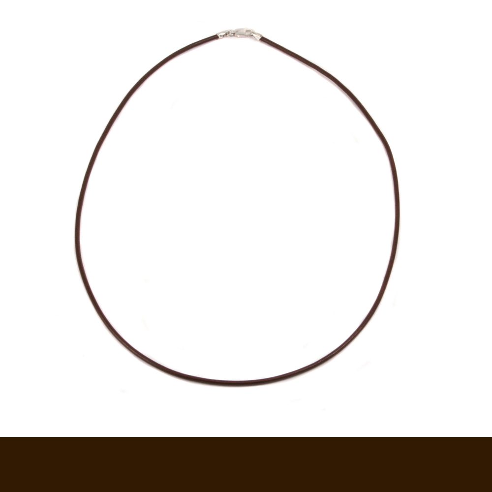 "Chain & Clasps Leather Finished Necklace 1.5mm, 16"" Brown"