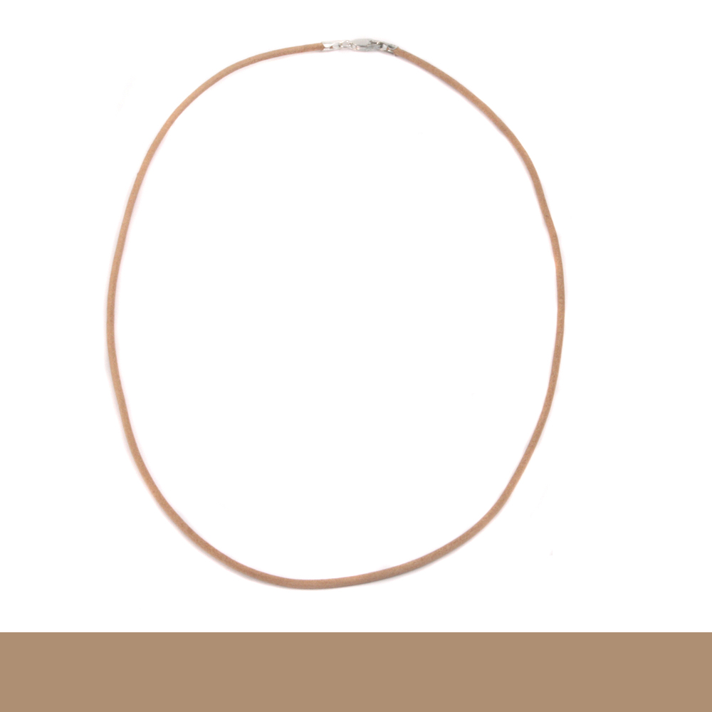 """Chain & Clasps Leather Finished Necklace 1.5mm, 18"""" Natural"""