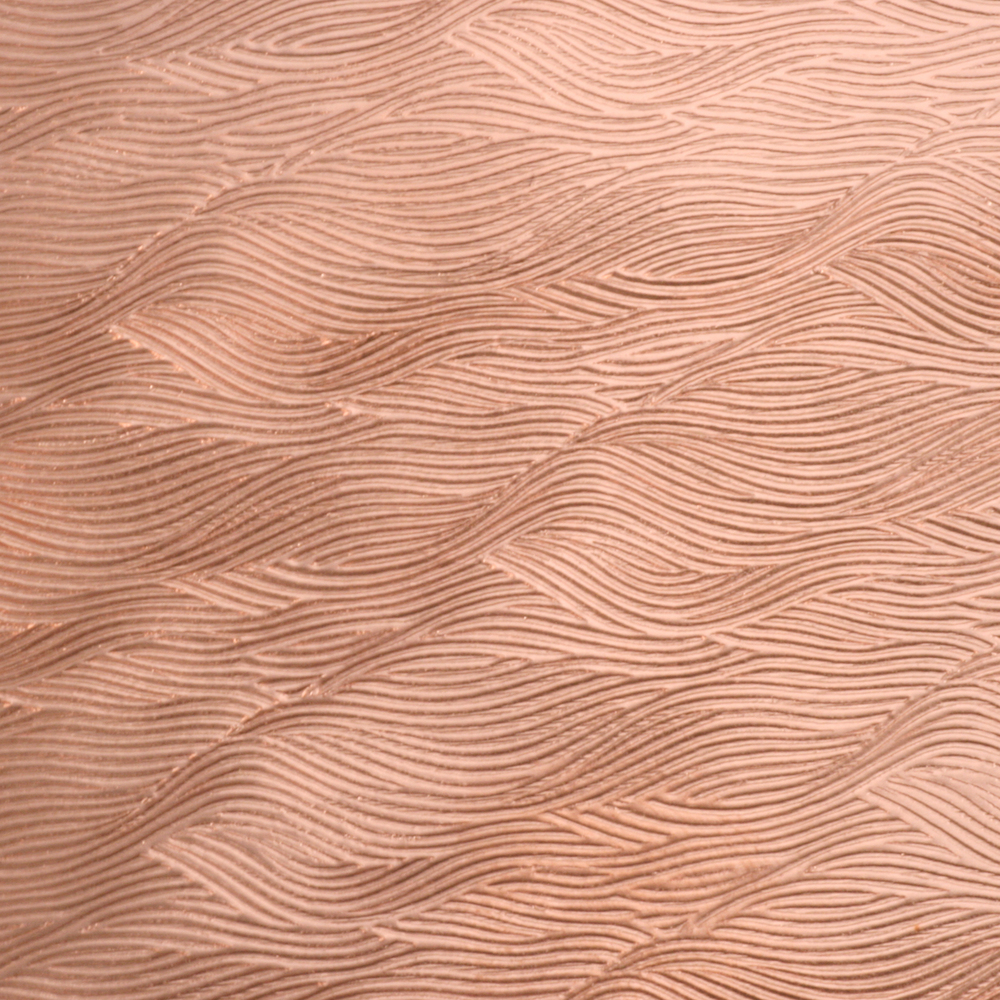 "Wire & Sheet Metal Patterned Copper 24g Sheet Metal, Waves, 2.5"" x 6"""