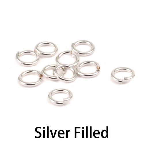 Chain & Jump Rings Silver Filled 4mm I.D. 18 Gauge Jump Rings, pack of 10