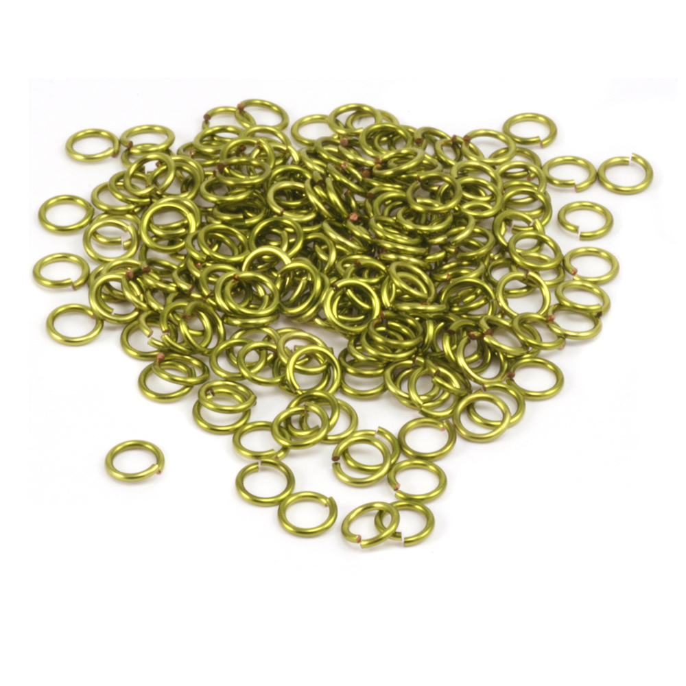 Jump Rings Peridot Enamel Jump Rings 4.5mm, 18g 1oz.