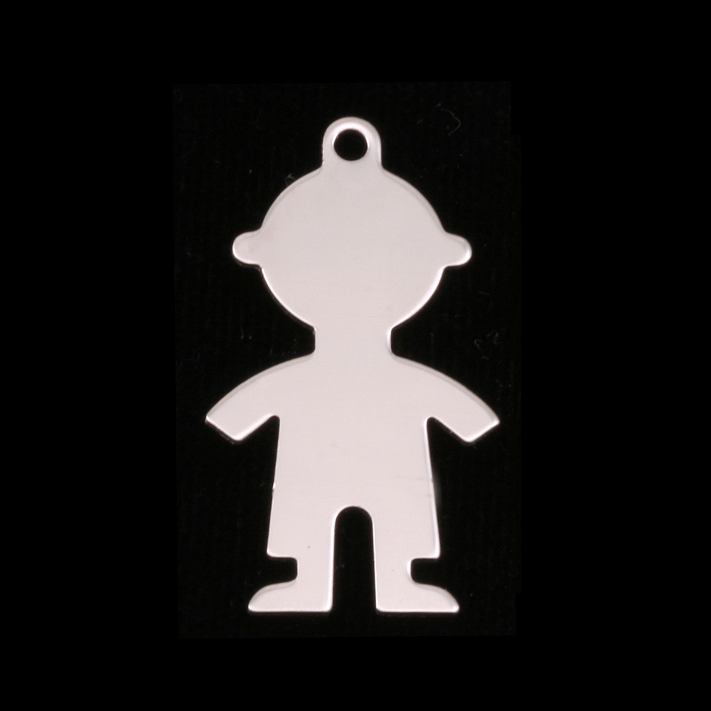 Metal Stamping Blanks Sterling Silver Boy Body Silhouette Charm, 24g