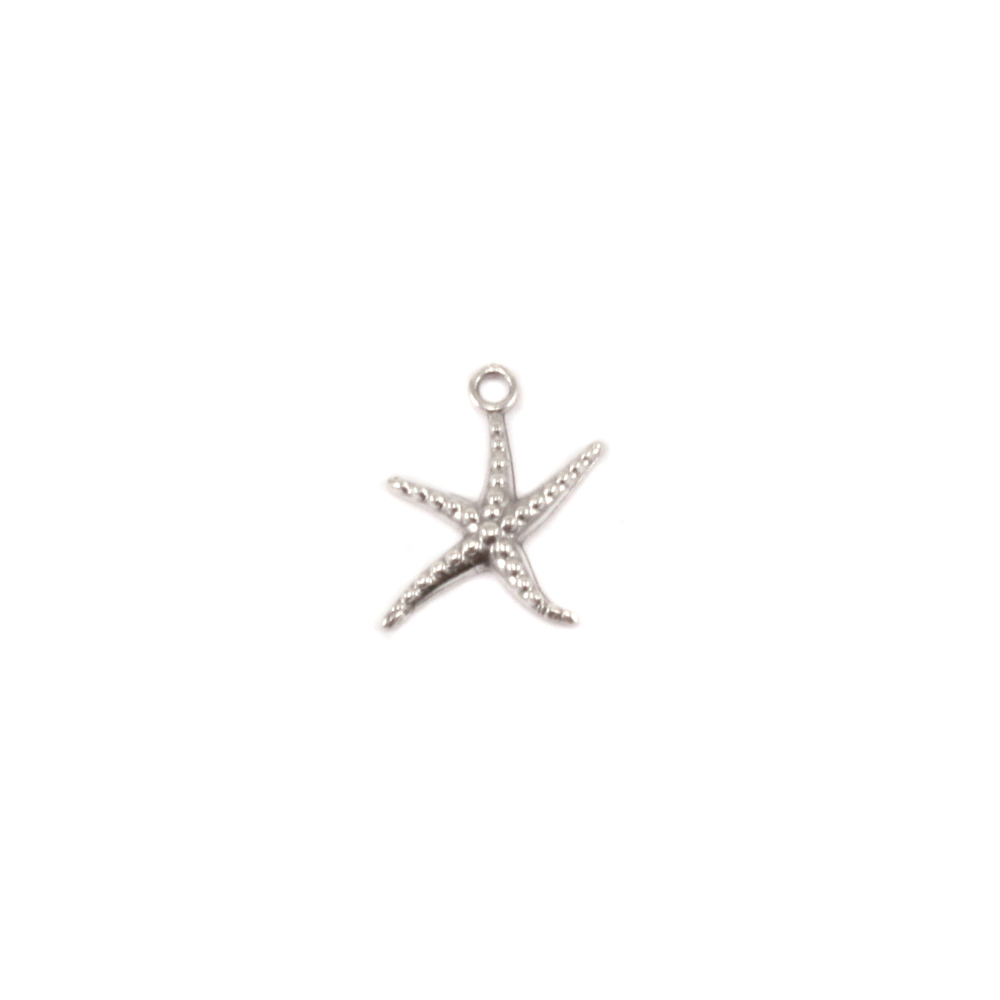 Charms & Solderable Accents Sterling Silver Starfish Charm, Pack of 4