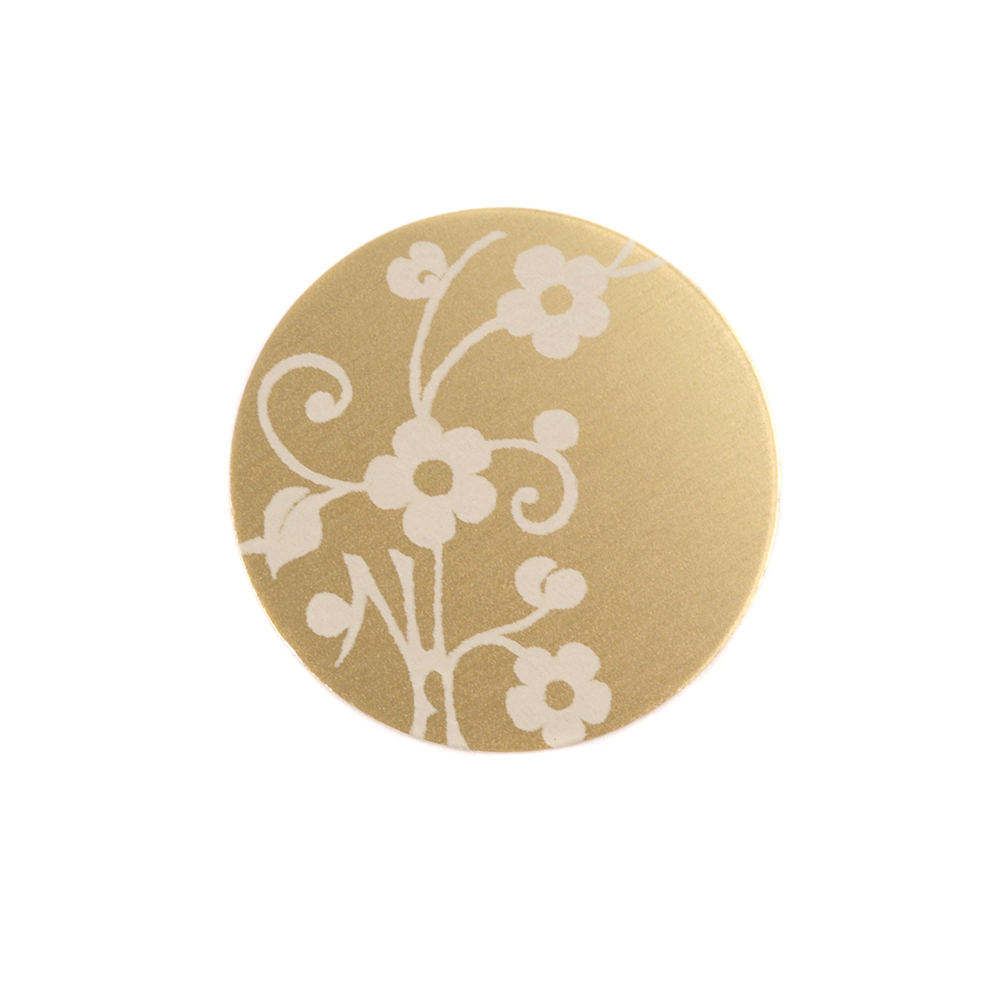 "Anodized Aluminum 5/8"" Circle, Gold, Design #1, 22g"