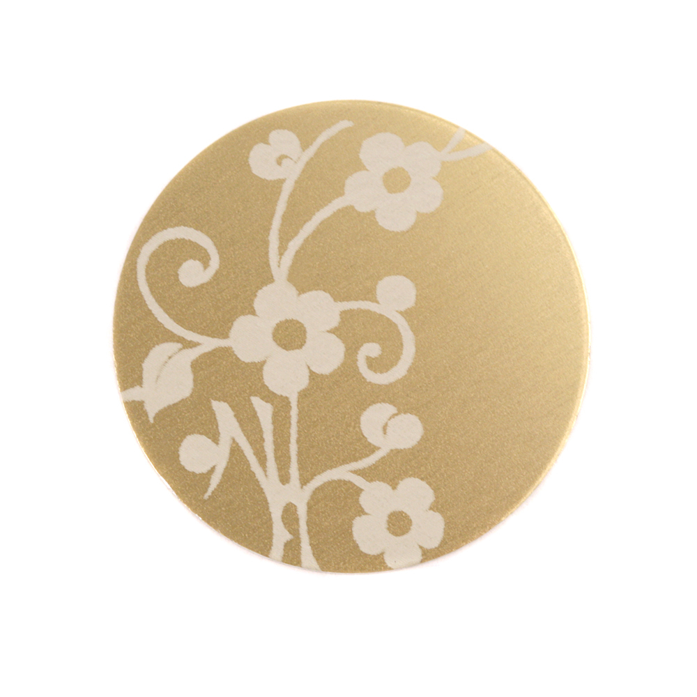 "Anodized Aluminum 3/4"" Circle, Gold, Design #1, 22g"