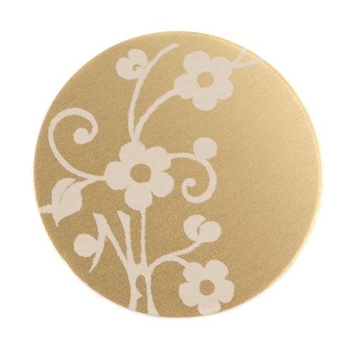 "Dregs Anodized Aluminum 1"" Circle, Gold, Design #1, 22g"
